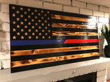 Thin Blue and Thin Red Line Rustic American Flag, Subdued Flag, Thin Blue Line, Thin Red Line