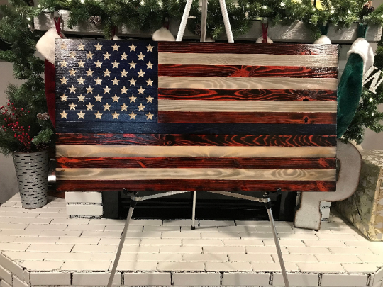 Unique Rustic Thin Blue Line Red, White and Blue Wooden American Flag, Subdued American Flag