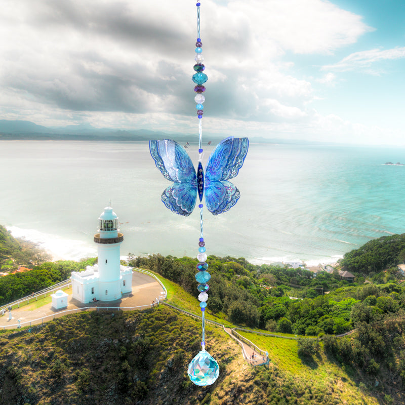 Blue Fantasy hand made butterfly crystal suncatcher by Kylee Joy