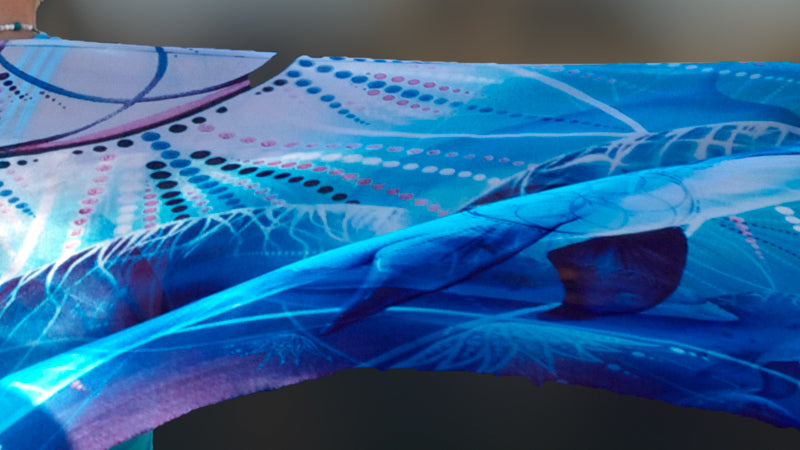Wearable art pure silk scarf by Kylee Joy. Wolf totem, shamanic art.