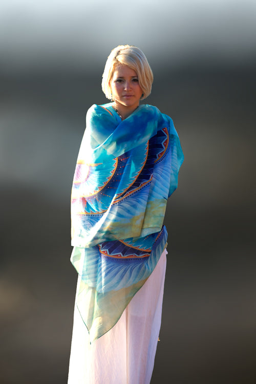 Winged Goddess wearable art pure silk scarf by Kylee Joy.