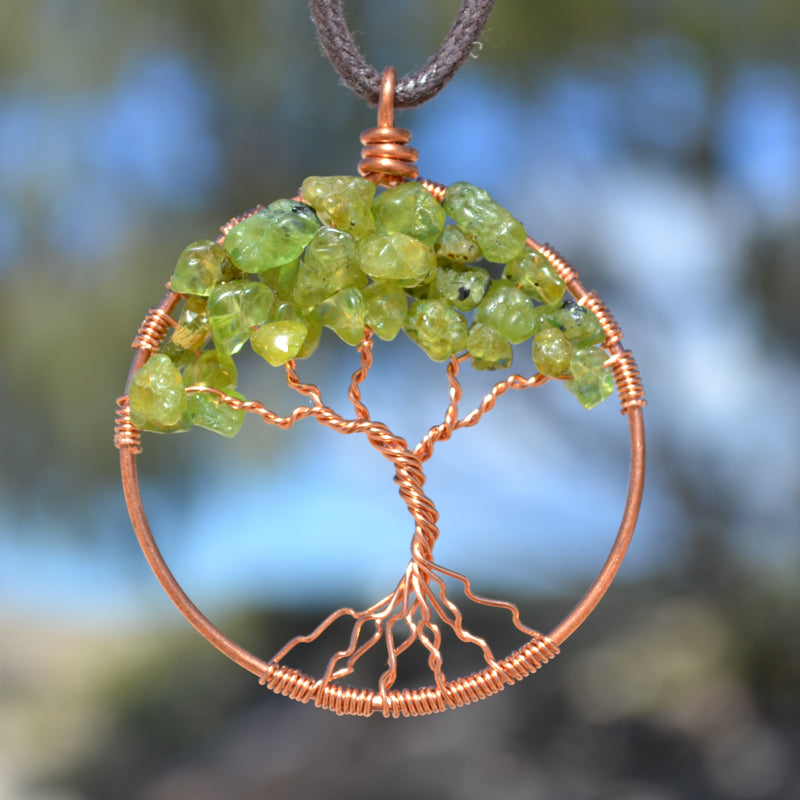 crystal and copper Tree of Life pendant, artisan crafted in Byron Bay, NSW by Thias Miller.