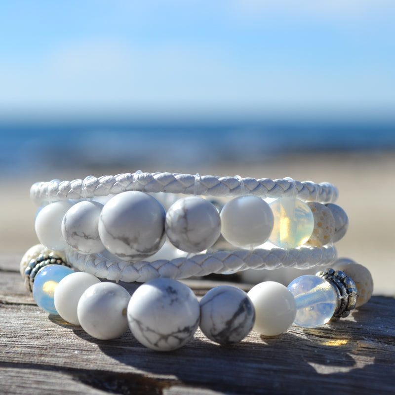 White Lions Essential Oil Bracelets Stack of Two