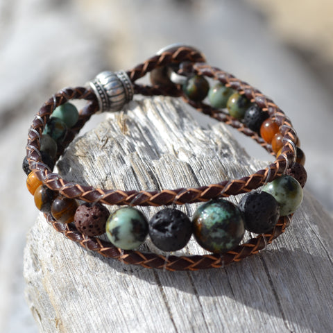 Lion's Heart Leather Wrap Essential Oil Bracelet
