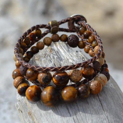 Lion's Heart Leather Wrap Essential Oil Bracelet Stack of 3