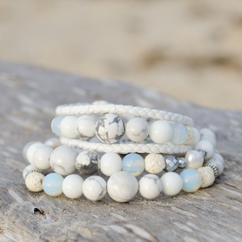 White Lions Essential Oil Bracelets Stack of Three