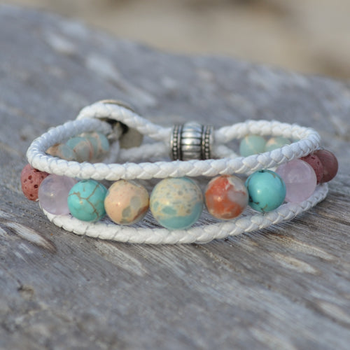 Dolphin Dreaming Leather Wrap Essential Oil Bracelet