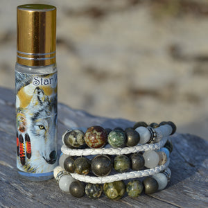 Star Wolf Essential Oil Bracelet Stack of Two