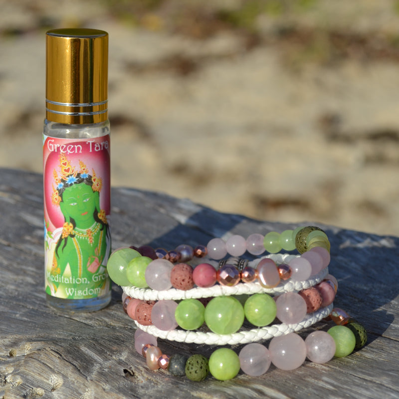Green Tara Leather Wrap Essential Oil Bracelet