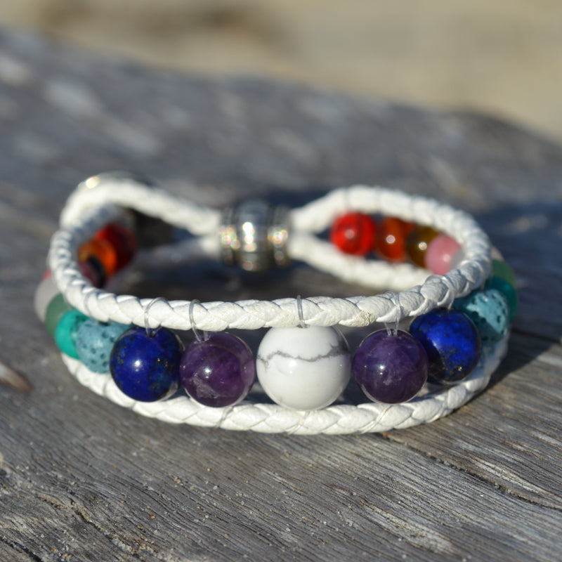 White Buffalo Leather Wrap Essential Oil Chakra Bracelet