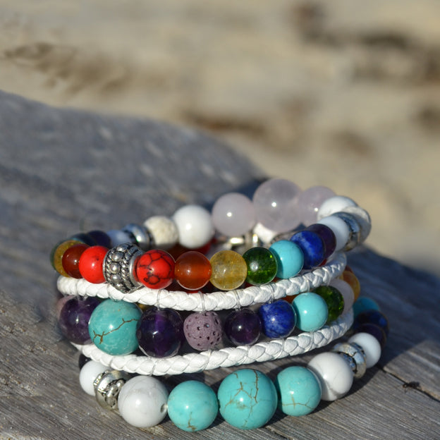 White Buffalo Essential Oil Chakra Bracelet Stack of Three