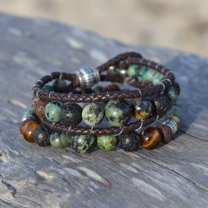 Heart of a Shaman Leather Wrap Essential Oil Bracelet