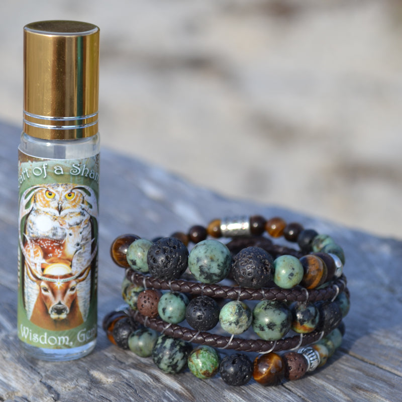Heart of a Shaman Essential Oil Bracelet Stack of 3