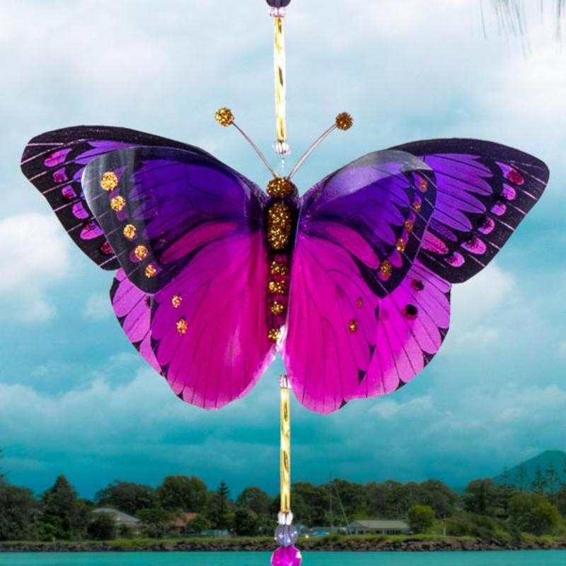 Disco pink and Purple butterfly suncatcher by Kylee Joy