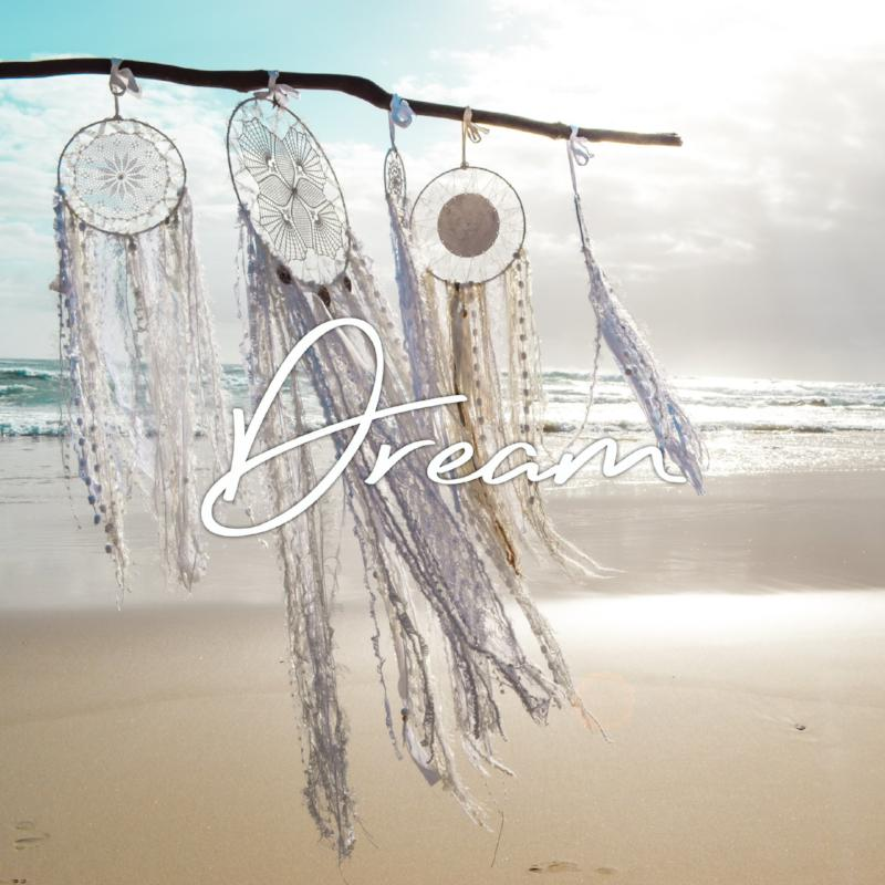 Handmade boho dream catcher by visionary artisan Kylee Joy in classic white tones.