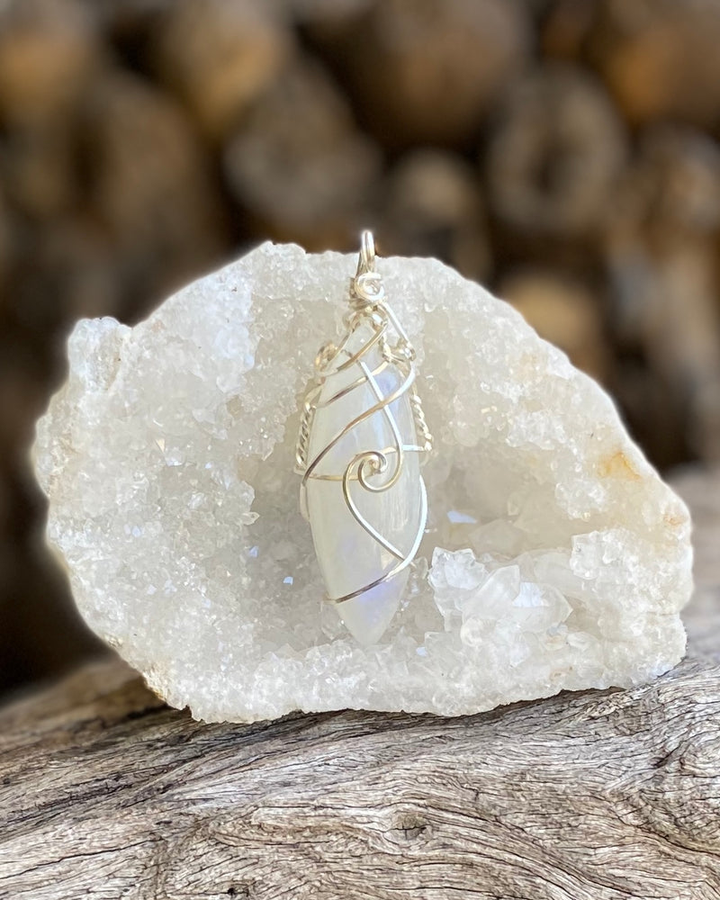 Rainbow Moonstone in Sterling Silver Pendant