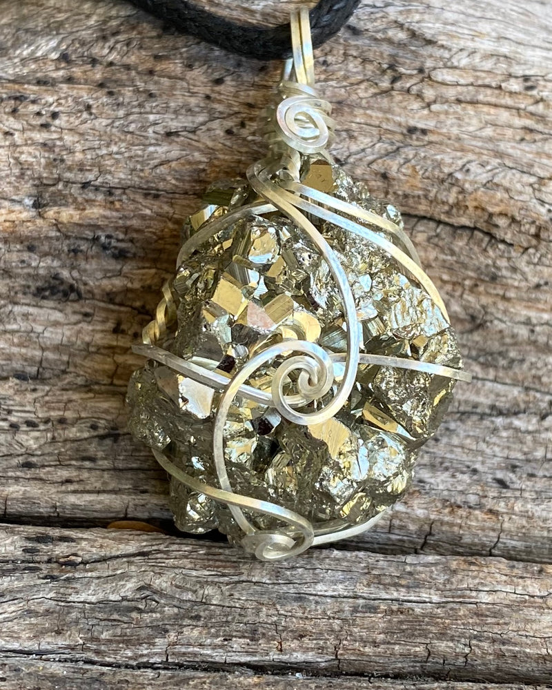 Pyrite in Sterling Silver Pendant Necklace