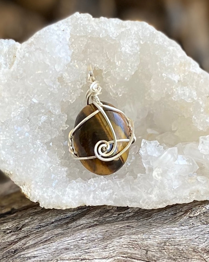 Tiger Eye Pendant in Sterling silver