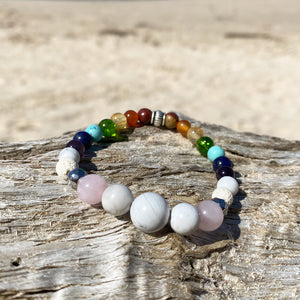 Artisan Crafted Natural Stone essential oil bracelet handmade in Byron Bay. Features natural White Alabaster, Howlite, Rose Quartz, Amethyst, Peridot, Citrine, Carnelian, Red Coral, Hematite, and Lava Stone beads.