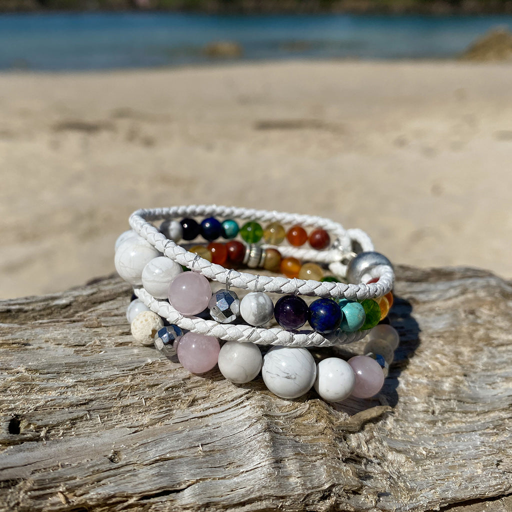 Artisan Crafted Natural Stone bracelet stack of two, handmade in Byron Bay. Features natural White Alabaster, Howlite, Rose Quartz, Amethyst, Peridot, Citrine, Carnelian, Red Coral, Hematite, and Lava Stone beads.