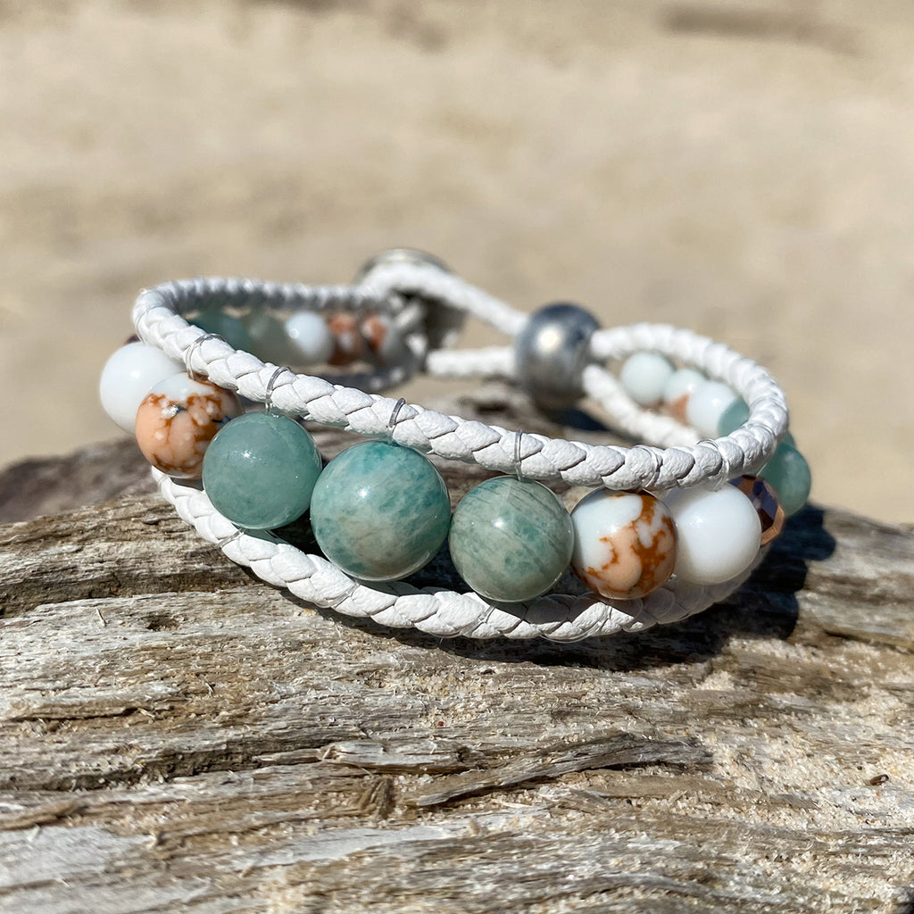 Angel of the Sea Leather Wrap Bracelet