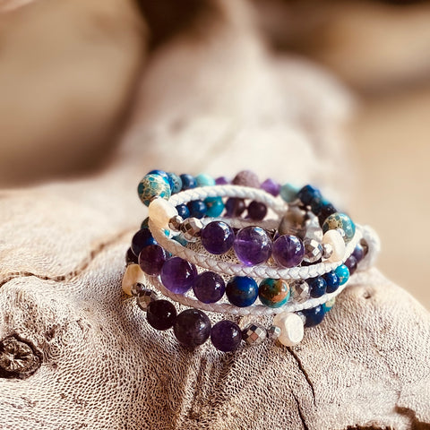 Lemuria Leather Wrap Essential Oil Bracelet Stack of 3