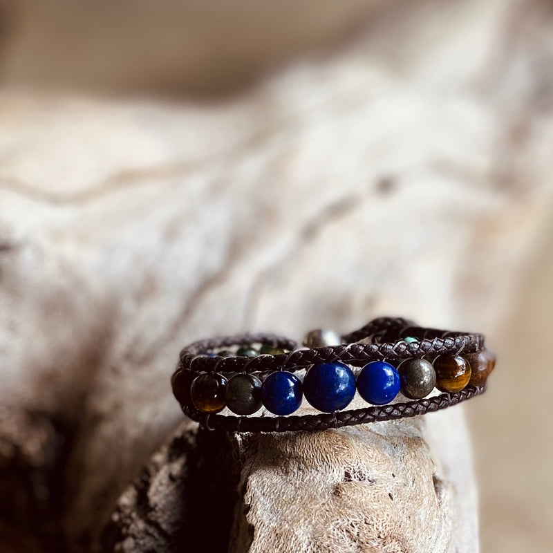 Artisan Crafted Natural Stone Leather Wrap bracelet stack of 3 handmade in Byron Bay. Features Natural Lapis Lazuli, Tiger Eye, African Turquoise, Pyrite and Lava Stone beads.