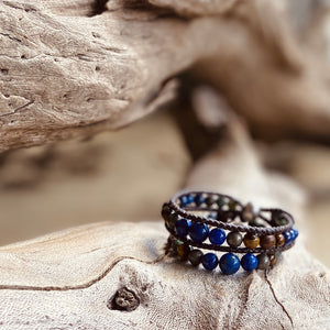 Artisan Crafted Natural Stone bracelet handmade in Byron Bay. Features Natural Lapis Lazuli, Tiger Eye, African Turquoise, Pyrite and Lava Stone beads.