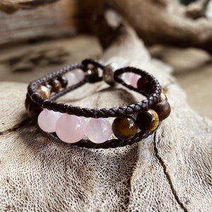 Artisan Crafted Natural Stone leather wrap bracelet, handmade in Byron Bay. Features natural Tiger Eye, Rose Quartz, Freshwater Pearl, Hematite, and Lava Stone beads.