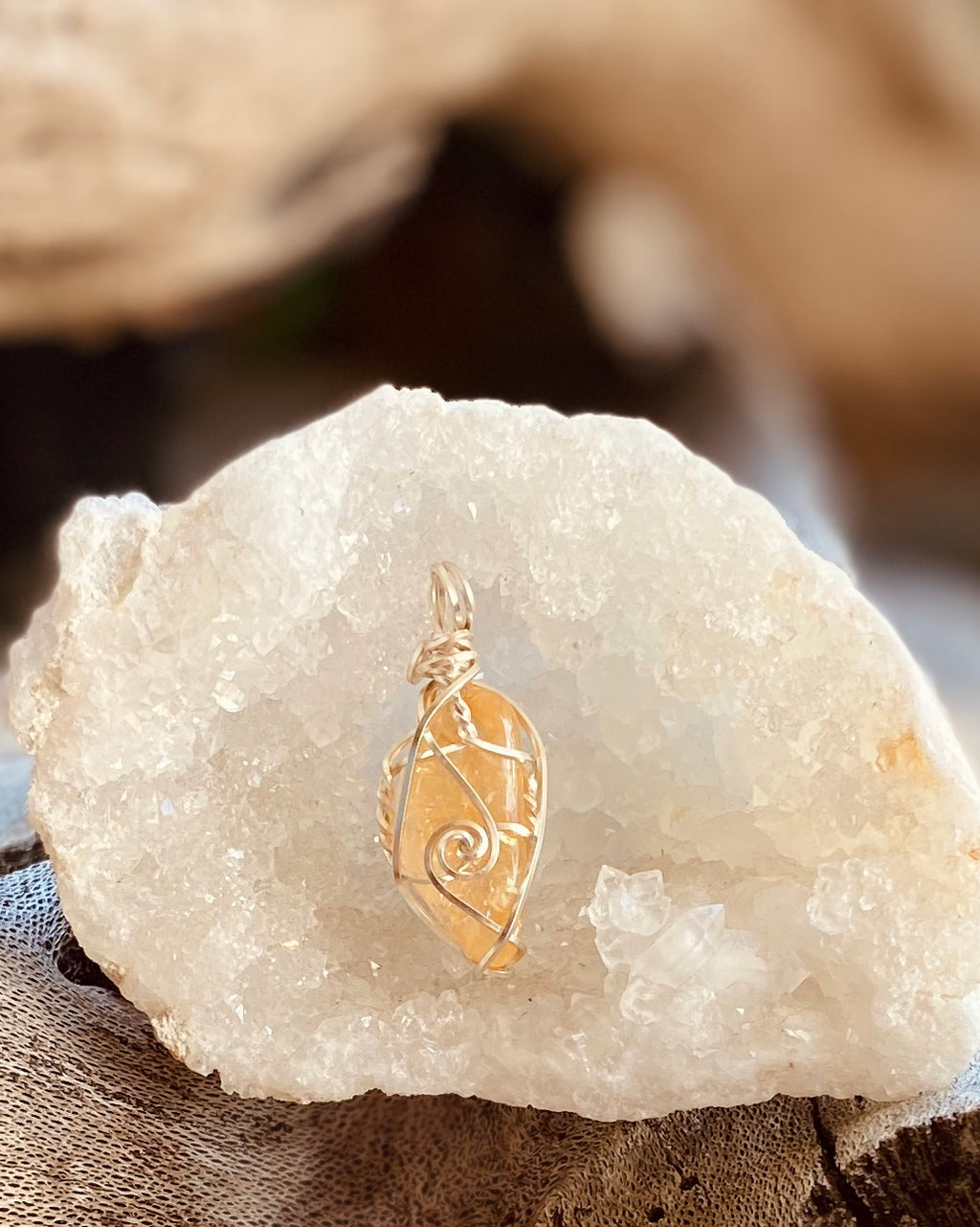 Artisan crafted natural Citrine pendant necklace handmade in Byron Bay. Wrapped in fine silver-plated copper wire.