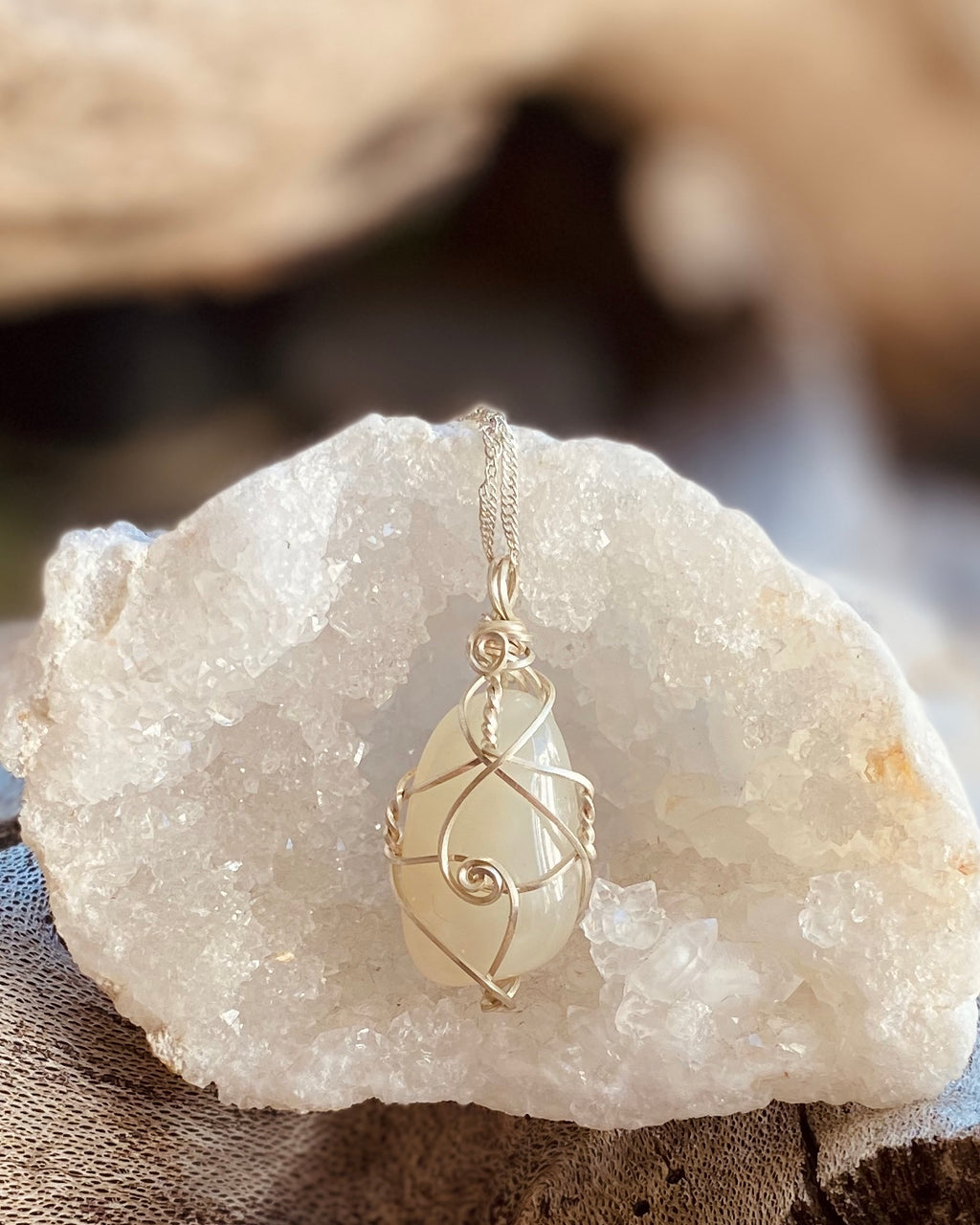 Artisan crafted natural Moonstone pendant necklace handmade in Byron Bay. Wrapped in eco friendly 925 sterling silver wire.