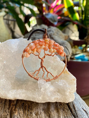 Pink Coral Tree of Life pendant necklace
