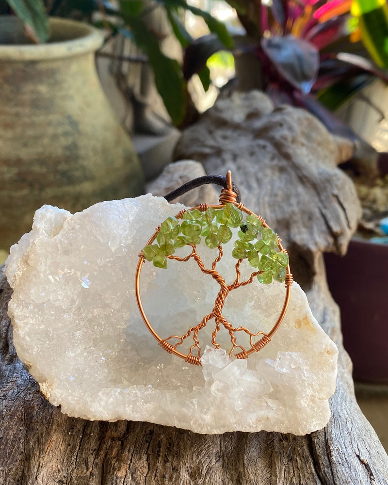 Peridot Tree of Life pendant necklace