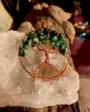 Ruby Zoisite Tree of Life Pendant Necklace
