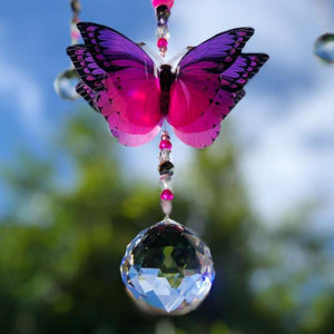 Discopink n Purple hand made butterfly crystal suncatcher by Kylee Joy