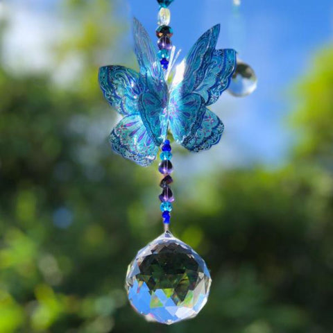 Green Fantasy Crystal  Butterfly Suncatcher