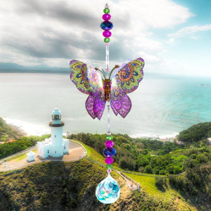 Indian Pink hand made butterfly crystal suncatcher by Kylee Joy
