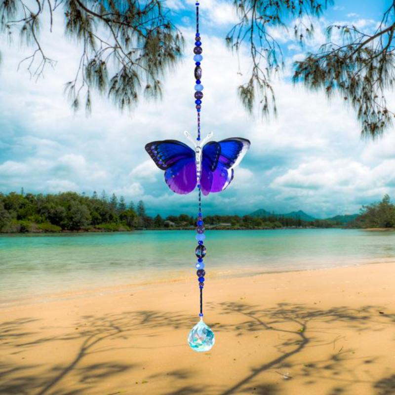 Midnight Blue hand made butterfly crystal suncatcher by Kylee Joy