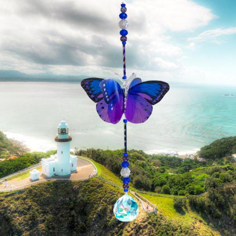 Disco Pink and Purple Butterfly Crystal Suncatcher