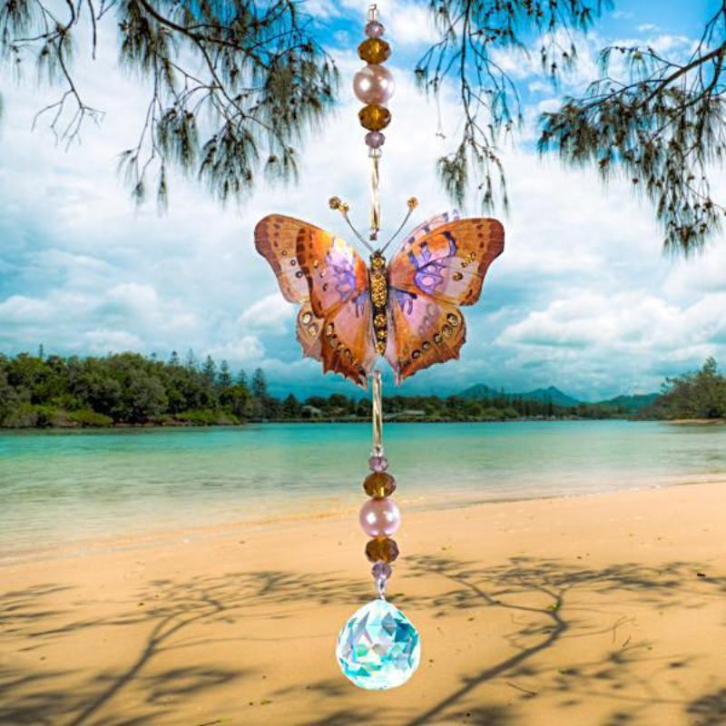 Beautiful hand made butterfly suncatcher by Kylee Joy in the colours of Autumn.