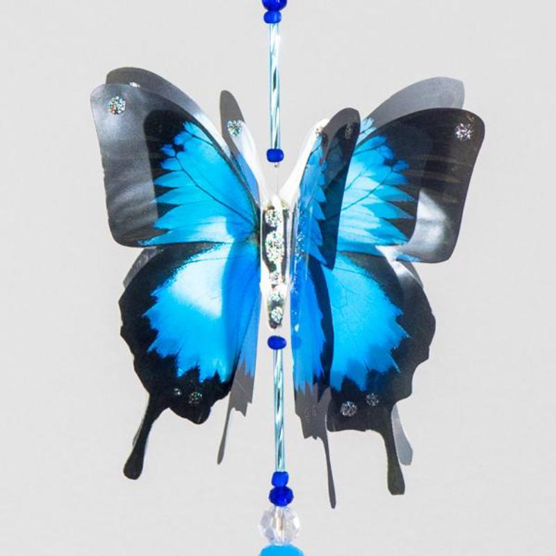 Blue Ulysses hand made butterfly crystal suncatcher by Kylee Joy