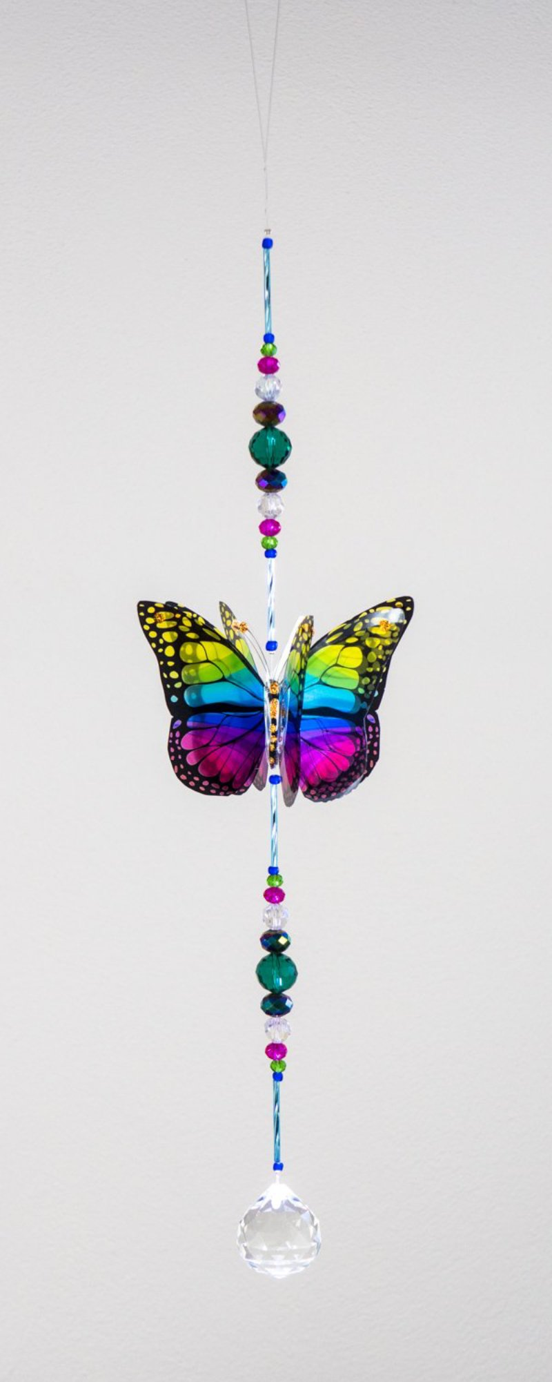 Rainbow hand made butterfly crystal suncatcher by Kylee Joy