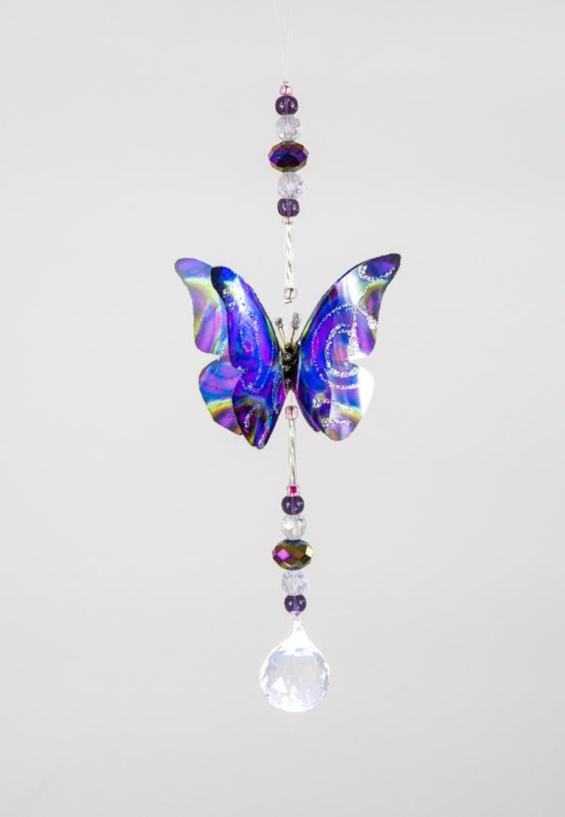 Purple Techno hand made butterfly crystal suncatcher by Kylee Joy