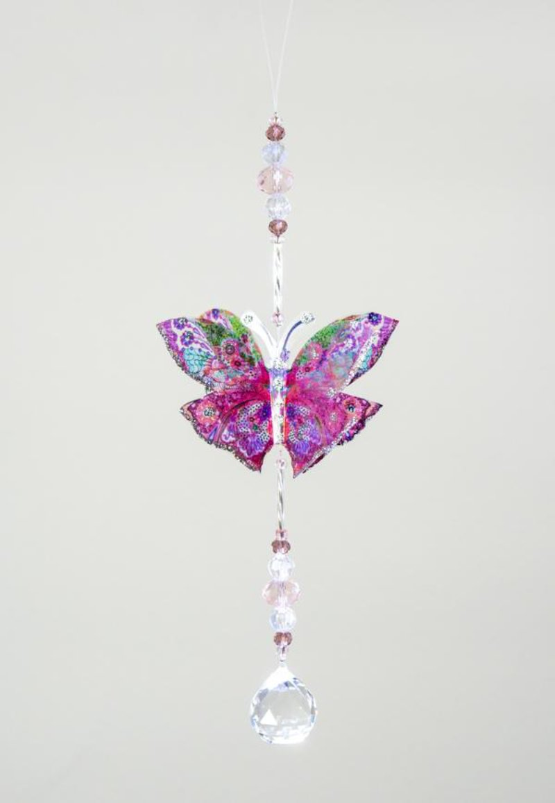 French Pink hand made butterfly crystal suncatcher by Kylee Joy