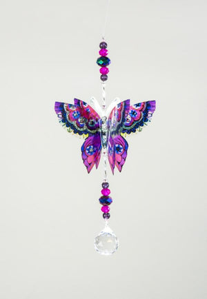 Purple Magic hand made butterfly crystal suncatcher by Kylee Joy