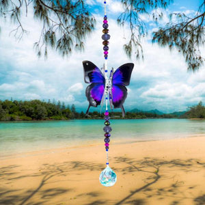 Purple Ulysses hand made butterfly crystal suncatcher by Kylee Joy