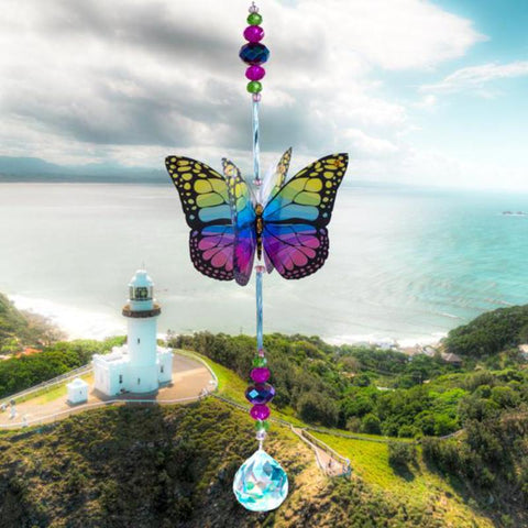 Green Magic Butterfly Crystal Suncatcher