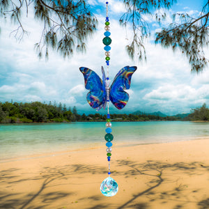 Blue Techno hand made butterfly crystal suncatcher by Kylee Joy