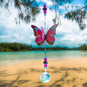Pink Techno hand made butterfly crystal suncatcher by Kylee Joy