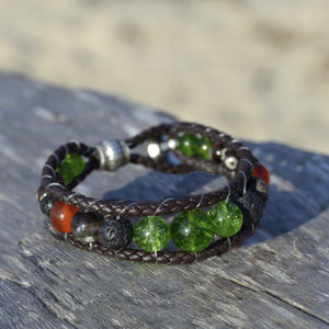 Goddess Pele Leather Wrap Essential Oil Bracelet